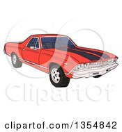 Clipart Of A Cartoon Red 1969 Cheverolet El Camino Muscle Car Coupe Utility Pickup Royalty Free Vector Illustration