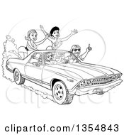 Outline Clipart Of A Cartoon Black And White Man Driving Around Sexy Women In A 1969 Cheverolet El Camino Muscle Car Coupe Utility Pickup Royalty Free Lineart Vector Illustration by LaffToon