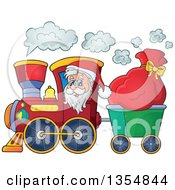Clipart Of A Cartoon Christmas Santa Claus Driving A Train And Pulling A Sack Royalty Free Vector Illustration by visekart