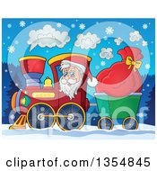 Clipart Of A Cartoon Christmas Santa Claus Driving A Train And Pulling A Sack At Night Royalty Free Vector Illustration