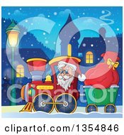 Clipart Of A Cartoon Christmas Santa Claus Driving A Train And Pulling A Sack Through A Village At Night Royalty Free Vector Illustration