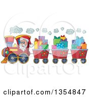 Cartoon Christmas Santa Claus Driving A Train And Pulling Carts Of Gifts