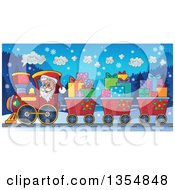 Clipart Of A Cartoon Christmas Santa Claus Driving A Train And Pulling Carts Of Gifts At Night Royalty Free Vector Illustration