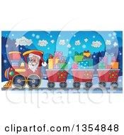 Clipart Of A Cartoon Christmas Santa Claus Driving A Train And Pulling Carts Of Gifts At Night Royalty Free Vector Illustration by visekart