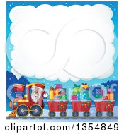 Clipart Of A Cartoon Christmas Santa Claus Driving A Train And Pulling Carts Of Gifts Under A Steam Cloud Royalty Free Vector Illustration