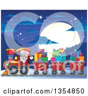 Clipart Of A Cartoon Christmas Santa Claus Driving A Train And Pulling Carts Of Gifts At Night Against A Full Moon Royalty Free Vector Illustration