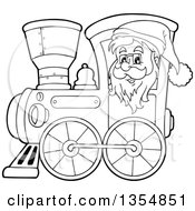 Outline Clipart Of A Cartoon Black And White Christmas Santa Claus Driving A Train Royalty Free Lineart Vector Illustration by visekart