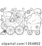 Outlined Clipart Of A Cartoon Black And White Christmas Santa Claus Driving A Train And Pulling A Sack Royalty Free Lineart Vector Illustration