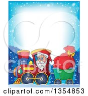 Clipart Of A Cartoon Border Of A Christmas Santa Claus Driving A Train And Pulling A Sack With Text Space Royalty Free Vector Illustration