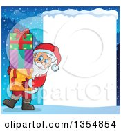 Clipart Of A Cartoon Christmas Santa Claus Carrying A Stack Of Gifts By A Snow Frame Royalty Free Vector Illustration