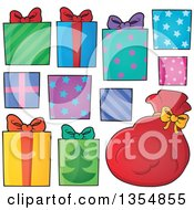 Clipart Of Cartoon Christmas Gifts And Santas Sack Royalty Free Vector Illustration