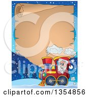 Clipart Of A Cartoon Christmas Santa Claus Driving A Train Under A Parchment Scroll Royalty Free Vector Illustration
