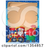 Clipart Of A Cartoon Christmas Santa Claus Driving A Train And Pulling A Sack Under A Parchment Scroll Royalty Free Vector Illustration