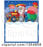 Clipart Of A Cartoon Christmas Santa Claus Driving A Train And Pulling A Sack Over A Snow Frame Royalty Free Vector Illustration by visekart