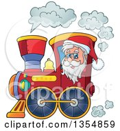 Clipart Of A Cartoon Christmas Santa Claus Driving A Train Royalty Free Vector Illustration