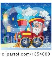 Clipart Of A Cartoon Christmas Santa Claus Driving A Train Through A Village At Night Royalty Free Vector Illustration by visekart