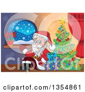 Clipart Of A Cartoon Christmas Santa Claus Waving And Sitting With A Gift By A Tree Royalty Free Vector Illustration