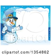 Clipart Of A Cartoon Christmas Snowman Presenting A Blank Sign Royalty Free Vector Illustration