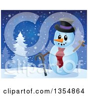 Clipart Of A Cartoon Christmas Snowman Waving By Trees Royalty Free Vector Illustration