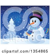 Clipart Of A Cartoon Christmas Snowman By Trees Royalty Free Vector Illustration