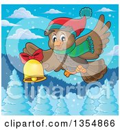 Clipart Of A Cartoon Christmas Owl Wearing A Winter Scarf And Hat Flying Over A Snow Covered Forest And Ringing A Bell Royalty Free Vector Illustration
