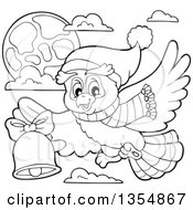 Outline Clipart Of A Cartoon Black And White Christmas Owl Wearing A Winter Scarf And Hat Flying And Ringing A Bell Royalty Free Lineart Vector Illustration