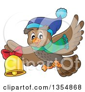 Clipart Of A Cartoon Christmas Owl Wearing A Winter Scarf And Hat Flying And Ringing A Bell Royalty Free Vector Illustration by visekart