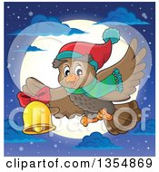 Clipart Of A Cartoon Christmas Owl Wearing A Winter Scarf And Hat Flying Over A Full Moon And Ringing A Bell Royalty Free Vector Illustration