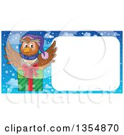 Clipart Of A Cartoon Christmas Owl Flying A Gift By A Blank Sign Royalty Free Vector Illustration