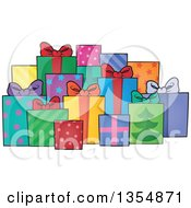 Clipart Of A Cartoon Group Of Colorful And Patterned Gifts Royalty Free Vector Illustration