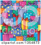 Clipart Of A Seamless Background Pattern Of Colorful And Patterned Gifts Royalty Free Vector Illustration