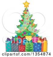 Clipart Of A Cartoon Colorful Christmas Tree With Gifts Royalty Free Vector Illustration by visekart