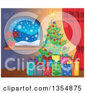 Clipart Of A Cartoon Colorful Christmas Tree With Gifts Near A Window With A Poinsettia Royalty Free Vector Illustration