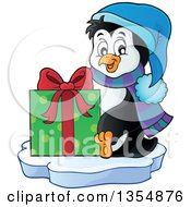 Clipart Of A Cartoon Christmas Penguin Holding A Gift And Sitting On Ice Royalty Free Vector Illustration by visekart
