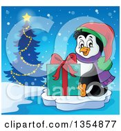 Clipart Of A Cartoon Christmas Penguin Holding A Gift And Sitting On Ice Near A Tree Royalty Free Vector Illustration