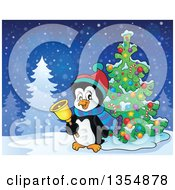 Clipart Of A Cartoon Christmas Penguin Ringing A Bell By A Tree Royalty Free Vector Illustration