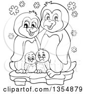 Outline Clipart Of A Cartoon Black And White Penguin Family On Ice Royalty Free Lineart Vector Illustration