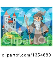 Clipart Of A Cartoon Senior Druid Man By A Castle Royalty Free Vector Illustration by visekart