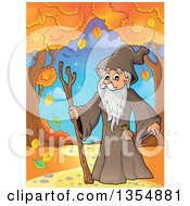 Clipart Of A Cartoon Senior Druid Man On A Path With Autumn Trees Royalty Free Vector Illustration by visekart
