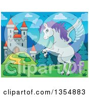 Clipart Of A Cartoon Winged Pegasus Horse Rearing Near A Castle Royalty Free Vector Illustration