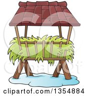 Clipart Of A Cartoon Hay Rack Feeder In The Snow Royalty Free Vector Illustration by visekart