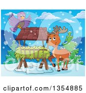 Clipart Of A Cartoon Reindeer By A Hay Rack Feeder And Bird Royalty Free Vector Illustration by visekart