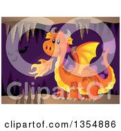 Clipart Of A Cartoon Orange Fire Breathing Dragon In A Cave With Bats Royalty Free Vector Illustration by visekart