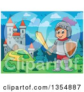 Clipart Of A Happy Knight Boy Holding A Sword Near A Castle Royalty Free Vector Illustration