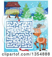 Clipart Of A Cartoon Maze Of A Reindeer Trying To Get To A Hay Rack Feeder Royalty Free Vector Illustration