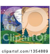 Clipart Of A Halloween Parchment Paper And A Haunted House Royalty Free Vector Illustration