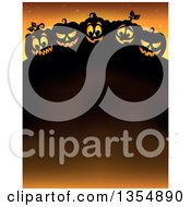 Clipart Of Cartoon Illuminated And Silhouetted Halloween Jackolantern Pumpkins Over A Text Space On Orange Royalty Free Vector Illustration