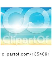 Clipart Of A Tropical Beach With White Sand And The Horizon Over The Ocean With Seagulls Clouds Blur And Flares Royalty Free Vector Illustration