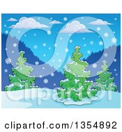 Clipart Of A Background Of Snow Falling Over Evergreen Trees During The Day Royalty Free Vector Illustration