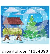 Clipart Of A Cartoon Hay Rack Feeder And Evergreen Trees In The Snow Royalty Free Vector Illustration